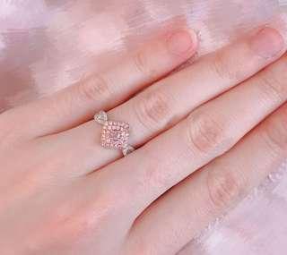 真金真鑽 粉紅鑽 白鑽石 併石 白金 玫瑰金 戒指 介指 rose gold fancy pink white diamond 18k ring