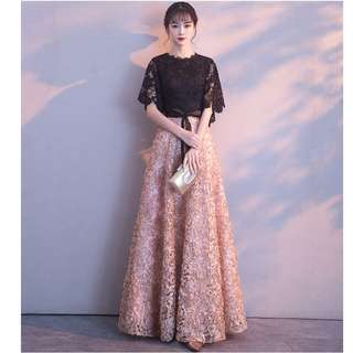 Gown Collection - Black Gold Lotus Mid Length Lace Sleeves Gown