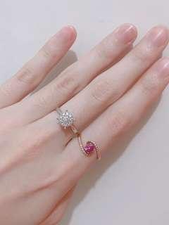 已hold 真金真鑽 粉紅藍寶石 白鑽石 併石 白金 玫瑰金 戒指 介指 rose gold pink sapphire white diamond 18k ring