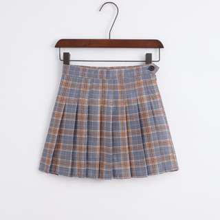plaid/tartan/check pleated mini skirt