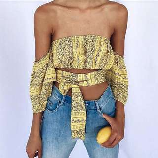 [PO] Yellow Boho Off Shoulder Top
