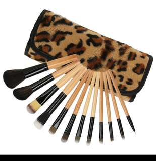 (Gift idea) 12 pcs make up brush set with Leopard PU pouch