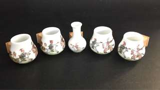 Vintage Puteh Bird Cups With Wooden Holder Set Of  5