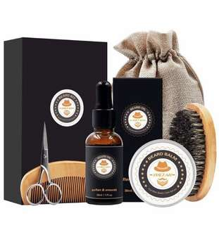 [IN-STOCK] XIKEZAN Mens gifts for Men Beard Care Grooming & Trimming Kit Unscented Beard Conditioner Oil + Mustache & Beard Comb+Balm Wax+Brush+Mustache Scissors Trimmer for Styling Shaping & Growth