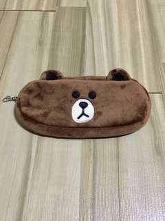 🐻BN INSTOCK Adorable Line Friends Brown Bear Pencil Case Bag