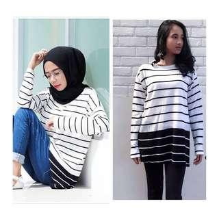 HR - 0418 - Outwear Rajut Zora Black In white