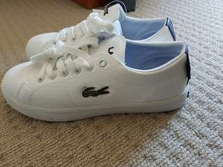 White Lacoste sneakers size 8