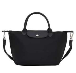 Longchamp black large short handle original