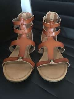 Cat & Jack Brown Leather Sandals Size 6.5