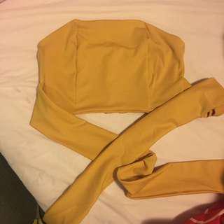 Tie Front Crop Top Mustard