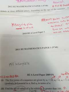 H2 mathematics A level papers