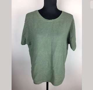 SEED Heritage sz M/L green khaki women top shirt knit stretch loose fit comfy