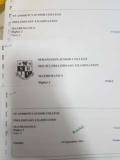 H2 Mathematics various schools prelim and mid year papers