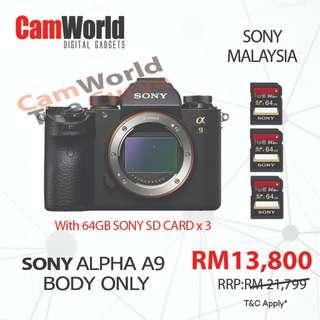 SONY ALPHA A9 WITH SONY 64GB CARD X 3