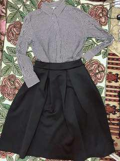 2-in-1 monochrome outfit (black skirt is NEW)