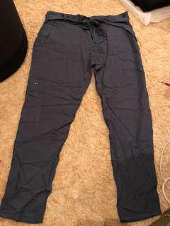 Size 14 lightweight slate grey slacks bow belt bespoke tailoring