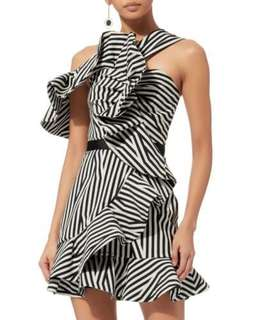 NWT Self Portrait Abstract Asymmetrical Ruffle Dress
