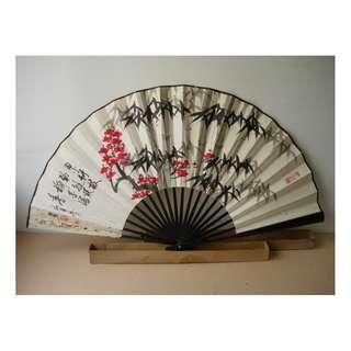 古老舊 大竹紙摺扇 有中國畫及書法字