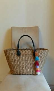 Large Natural straw tote with Tassel