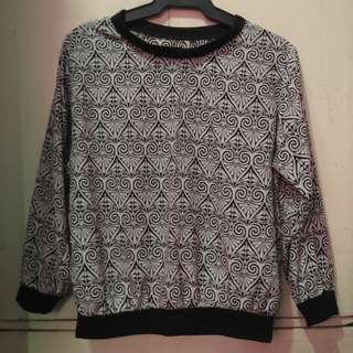 Black and White Vintage Print Sweater