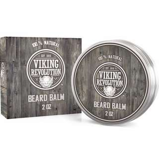 [IN-STOCK] Viking Revolution Beard Balm with Argan Oil & Mango Butter - Styles, Strengthens & Softens Beards & Mustaches - Citrus Scent Leave in Conditioner Wax for Men