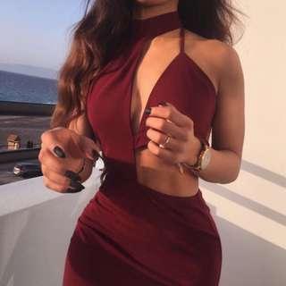 Carine Wine Red Bodycon Dress