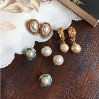 Skin&Moss Vintage復古小貴族系列仿製珍珠耳夾復古飾品珍珠耳環復古耳夾夾式耳環