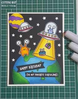 🚚 Handmade Greeting Card - Alien Invasion 2