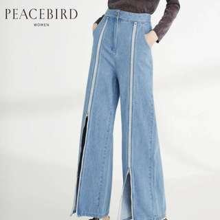 peacebird zipper slit jeans wide leg pants