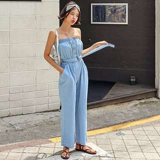 cc6436d47ff8 Denim Light Blue Coloured Buttons Down Belted Tube Overall Jumpsuit