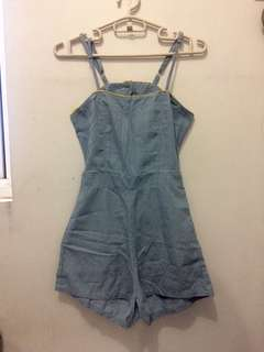 Denim playsuit with cut outs