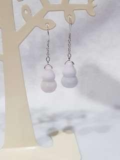 Burma Natural grade type A Jadeite Jade, white/light light purple Hu Lu, 925 silver ear hook.