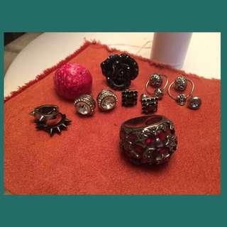 🚚 琉璃純銀星月戒指贈特殊造型戒指耳環