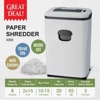 Paper Shredder with high security micro-cut 8 sheets Paper Cutting Machine