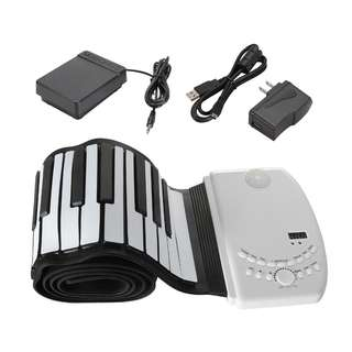 Portable 88 keys Flexible Roll up Piano Foldable Keyboard Hand Rolling 110V 220V