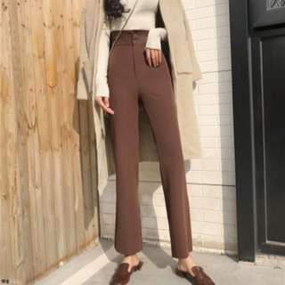 🚚 復古高腰棕色長褲