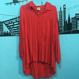 Kemeja merah / blouse / top / atasan duyung /