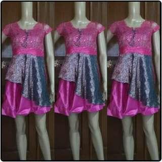 dress pesta mini songket pink