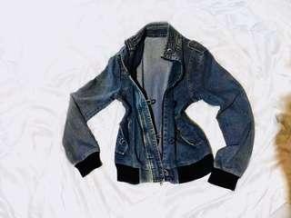 Moto Jacket - Biker Denim Coat - Distressed Salt Washed Blue Denim Jacket