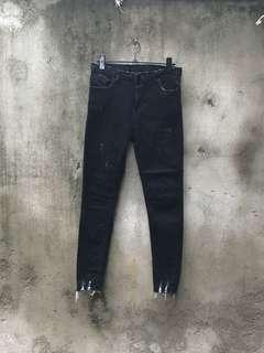 🚚 二手 黑色高腰破舊牛仔褲