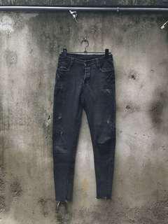 🚚 二手 黑灰色高腰牛仔褲