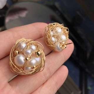 純天然珍珠耳環