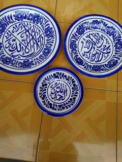 3 pc piring pajangan wrna biru 33 , 28 , 20 cm