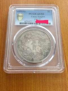 China 1911 Central Mint AU dragon dollar