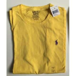 POLO Ralph Lauren經典刺繡logo素T 全新未使用 黃