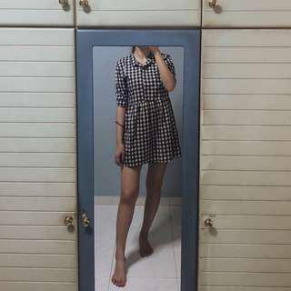 Grid Babydoll Dress