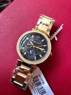 🚚 3900 new fashion mk women's watch black strap gold steel belt drill size 33mm. Quartz movement. Original box + 30