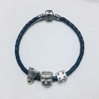RUSH Pandora leather bracelet and charms