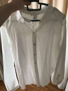 H&M white linen top