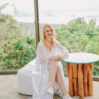 white isla bridal robe